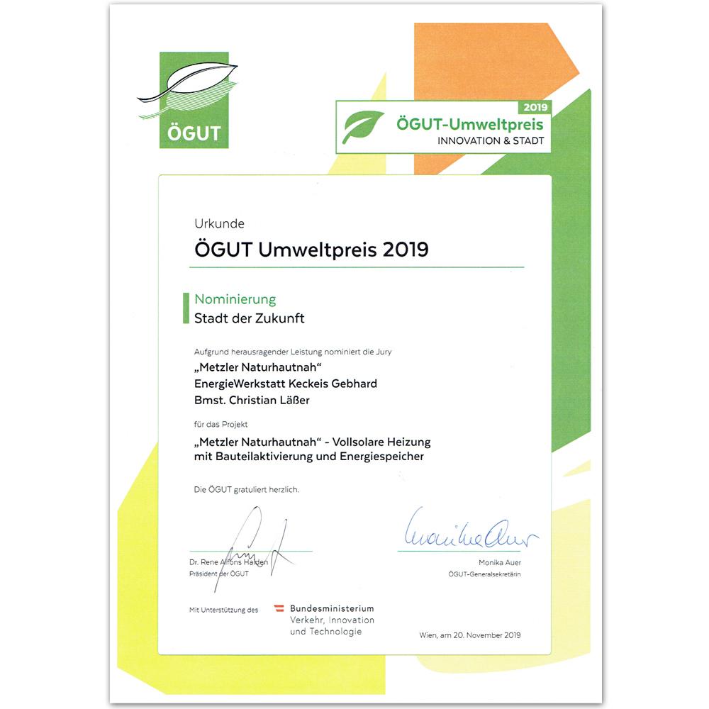 Urkunde Nominierung ÖGUT Umweltpreis 2019