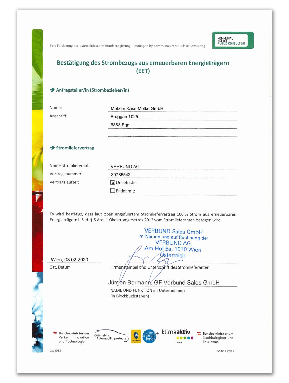 Bestätigung des Strombezugs aus erneuerbaren Energieträgern